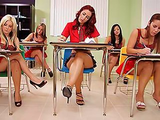 Dazzling Redhead School Girl Learns A Lesson From The Substitute Teacher